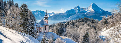 Snowy Church In The Bavarian Alps In Winter Poster by JR Photography