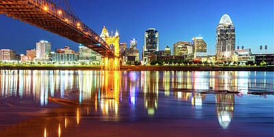 Poster featuring the photograph Panoramic View Of Cincinnati Ohio - Colorful City Skyline by Gregory Ballos