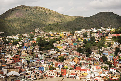 Panoramic View Of Colorful Hillside Homes In Guanajuato Mexico Poster