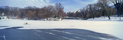 Panoramic View Of Frozen Pond Poster by Panoramic Images