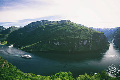 Panoramic View Of Geiranger Fjord In Norway Poster by Oksana Bystritskaya
