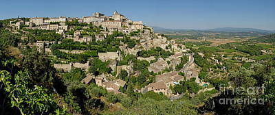 Panoramic View Of Gordes Medieval Hilltop Village Poster by Sami Sarkis