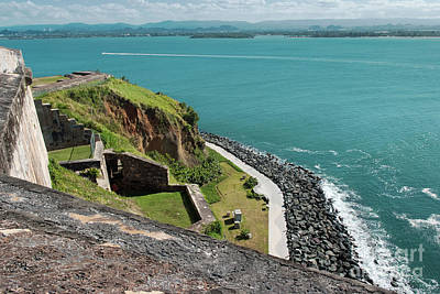 Panoramic View Of The Coastline From El Morro Fortress, San Juan, Puerto Rico Poster by Dani Prints and Images