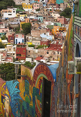 Panoramic Vista Of Colorful Buildings In Downtown Guanajuato Mexico Poster by Juli Scalzi