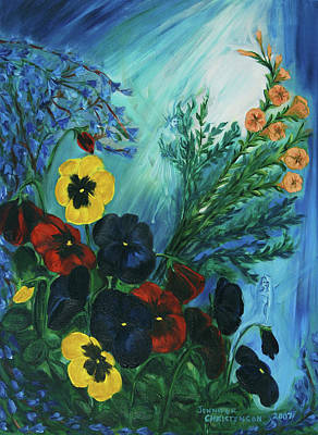 Pansies And Poise Poster by Jennifer Christenson