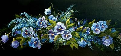 Pansies In Blue On Black Poster