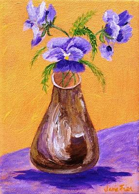 Pansies In Brown Vase Poster by Jamie Frier