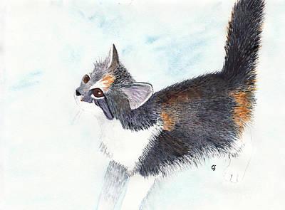 Calico Barn Cat Watercolor Poster
