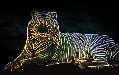Nature Poster featuring the digital art Panthera Tigris by Aaron Berg