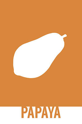 Papaya Food Art Minimalist Fruit Poster Series 017 Poster by Design Turnpike