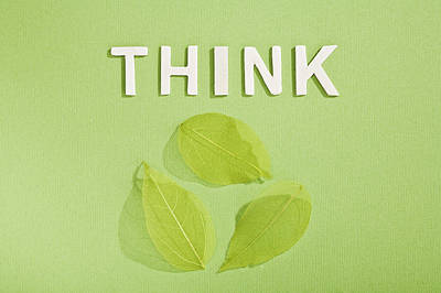Paper Cut Out Of Think With Leaves Poster