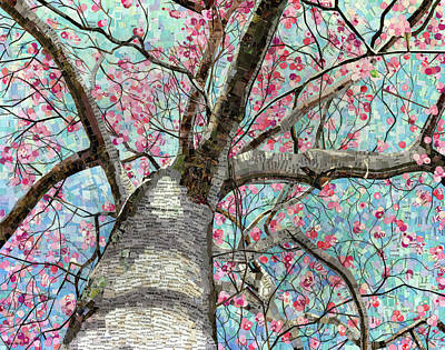 Poster featuring the mixed media Paper Magnolias by Shawna Rowe