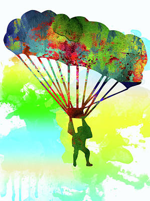 Parachutist Poster by Elena Kosvincheva