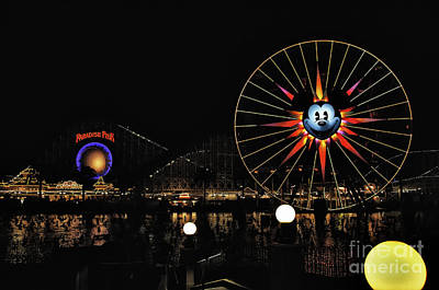 Paradise Pier And Mickey's Fun Wheel Poster by Peter Dang