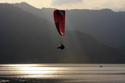 Paragliding Over Phewa Lake, Nepal Poster