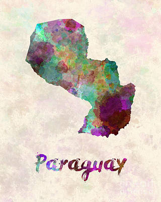 Paraguay In Watercolor Poster by Pablo Romero