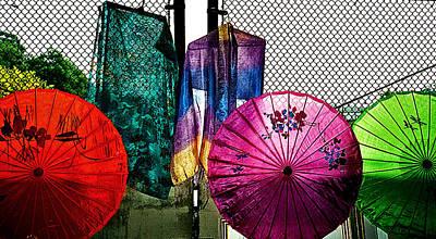 Parasols At A Flea Market Poster