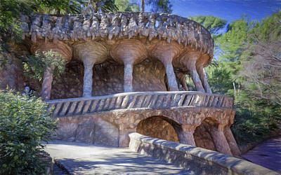 Parc Guell Walkway Poster by Joan Carroll