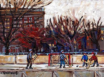 Parc Lafontaine Hockey Rink Painting Montreal East Winter City Scene Quebec Art C Spandau Poster by Carole Spandau