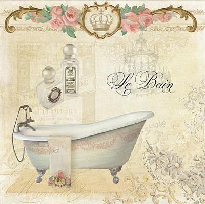 Parchment Paris - Le Bain Or The Bath Chandelier And Tub With Roses Poster by Audrey Jeanne Roberts