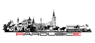 Pardubice Skyline City Black Poster