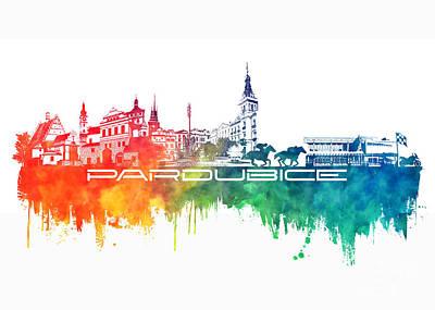 Pardubice Skyline City Color Poster