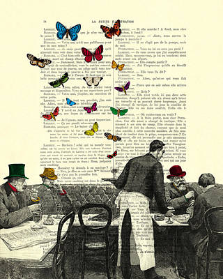 Inside Of A French Bistro At Paris And Rainbow Butterflies Poster by Madame Memento