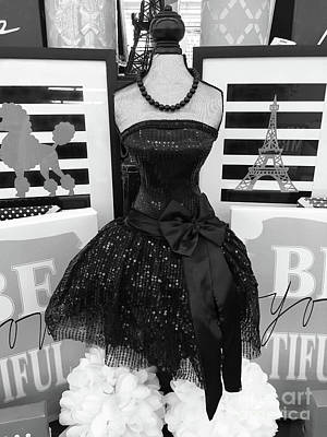 Poster featuring the photograph Paris Ballerina Costume Black And White French Decor - Parisian Ballet Art Black And White Art Deco by Kathy Fornal