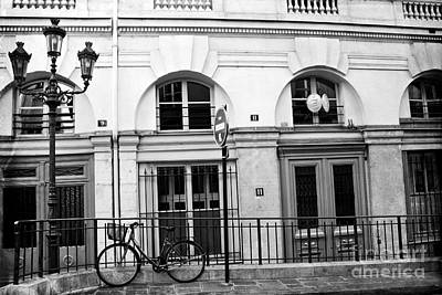 Poster featuring the photograph Paris Bicycle Street Lanterns Architecture Black And White Art Deco - Paris Black White Home Decor by Kathy Fornal