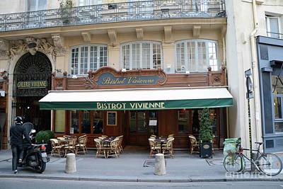 Paris Cafe Bistro - Galerie Vivienne - Paris Cafes Bistro Restaurant-paris Cafe Galerie Vivienne Poster by Kathy Fornal