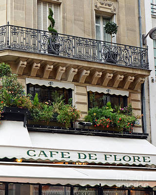 Paris Cafe De Flore - Paris Cafe Restaurant - Famous Paris Cafe Restaurant Poster by Kathy Fornal