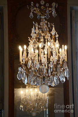 Paris Chandeliers Art - Romantic Paris French Chandelier Reflection - Rodin Museum Chandelier Art Poster by Kathy Fornal