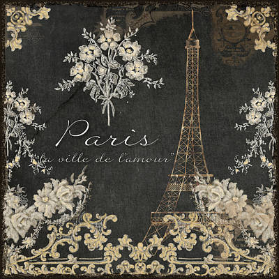 Paris - City Of Love Eiffel Tower Chalk Poster by Audrey Jeanne Roberts