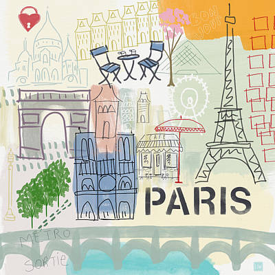 Paris Cityscape- Art By Linda Woods Poster by Linda Woods