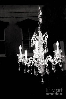 Paris Crystal Chandelier - Opulent Black And White Crystal Chandelier Window Reflection Poster