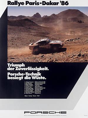 Paris Dakar Rally Porsche 1986 Poster by Georgia Fowler