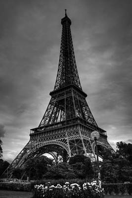 Poster featuring the photograph Paris - Eiffel Tower 004 Bw by Lance Vaughn