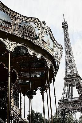 Paris Eiffel Tower Carousel Surreal Black And White Print  Poster by Kathy Fornal