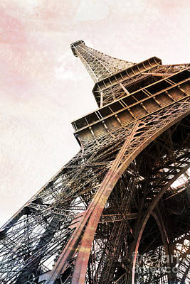 Paris Eiffel Tower Painterly Sepia Abstract - Eiffel Tower Sepia Vintage Art Decor And Prints Poster