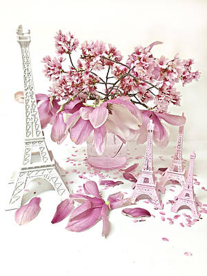 Paris Eiffel Tower Spring Magnolia Flower Blossoms - Paris Pink White Spring Blossoms  Poster by Kathy Fornal