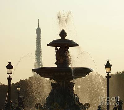 Paris Fountain In Sepia Poster