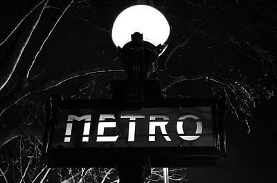 Paris France Metro Subway Sign Illuminated At Night Black And White Poster