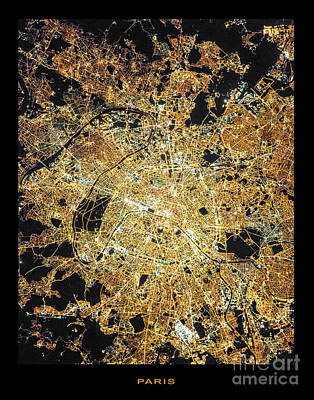 Poster featuring the photograph Paris From Space by Delphimages Photo Creations