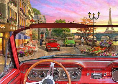 Paris In A Car Poster
