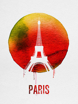 Paris Landmark Red Poster by Naxart Studio