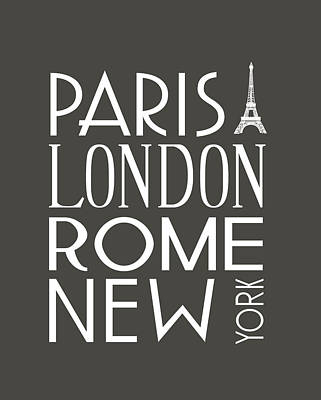Paris, London, Rome And New York Pillow Poster by Jaime Friedman