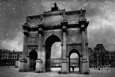 Paris Louvre Entrance Arc De Triomphe Architecture - Paris Black White Starry Night Monuments Poster by Kathy Fornal