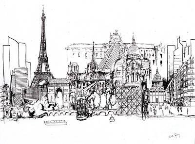 Paris Medley Monochrome Poster