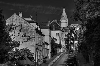 Poster featuring the photograph Paris - Montmartre Streetscape 002 Bw by Lance Vaughn