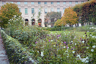 Poster featuring the photograph Paris Palais Royal Gardens - Paris Autumn Fall Gardens Palais Royal Rose Garden - Paris In Bloom by Kathy Fornal